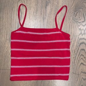 brandy melville red/white striped faye tank